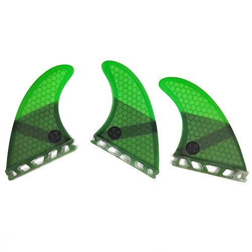 UPSURF Tabla de surf FUTURE Aletas Base Fibra de Vidrio Tabla de Surf Aletas Tri Fin Thruster Set Tener Panal (Green G3)
