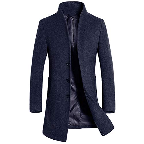 Allthemen Trench Coat da Uomo Cappotto Lungo in Lana e Cashmere Slim Fit Cappotto Capispalla Trench Winter Warm Overcoat