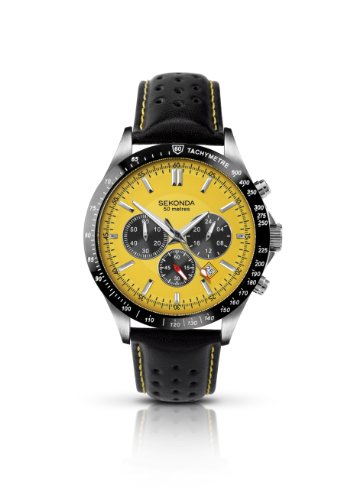SEKONDA Herren Armbanduhr Chronograph Leder schwarz 3378.27