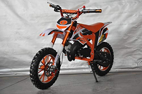 Mini Pitbike con motor de 49cc de 2 tiempos, XTM TEAM cross. Mini dirt bike. Moto de mini cross (Naranja)
