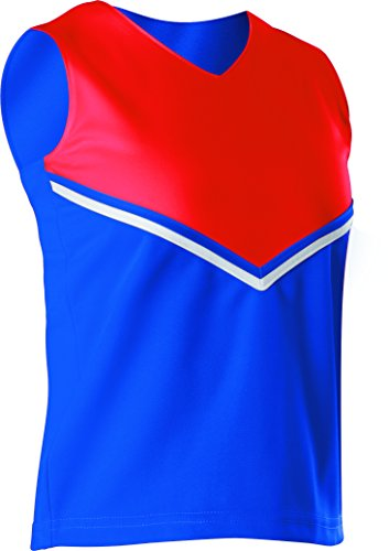Alleson Women's Cheerleading V Shell Top with Braid, Red/Black, X-Large