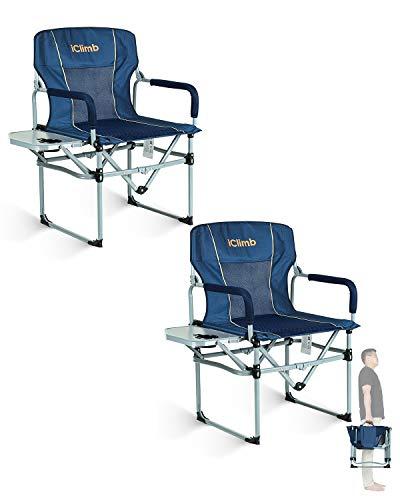 iClimb Camping-Klappstuhl mit Seitentisch und Griff, robust, kompakt Marineblau - 2 Stk