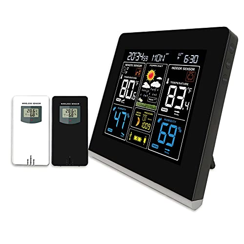 Think Gizmos Multifunktions-Wetterstation mit 2 Außentemperatursensoren, Wecker, Wettervorhersage, Mondphasenanzeige, Farbdisplay, USB-Ladeanschluss und Temperaturwarnungen
