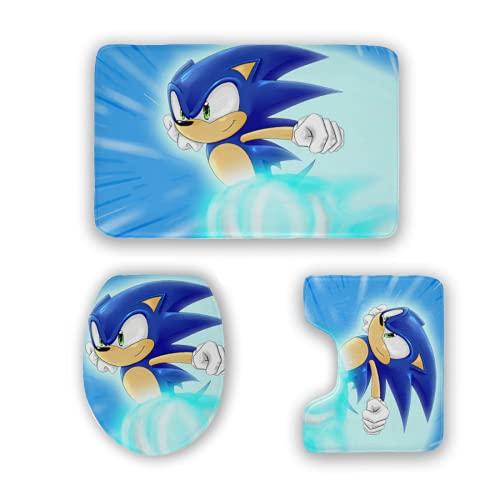 Love fled Sonic The Hedgehog Bath Mat 3 Piece Rugs Set Bathroom Carpet Set Soft Anti-Skid Pads Bath Mat + Contour Pads + Toilet Lid Cover, Absorbent Carpet Bath and Mat Anti-Slip Pads Set . One Size