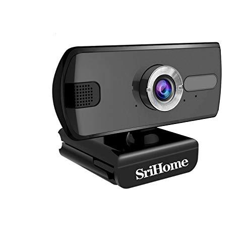 SriHome Webcam PC 1080P Webcam per computer SH004 Webcam USB con microfono per videochiamate Videoconferenze, Webcam USB Full HD compatibile con Skype, FaceTime, Hangouts, Plug and Play