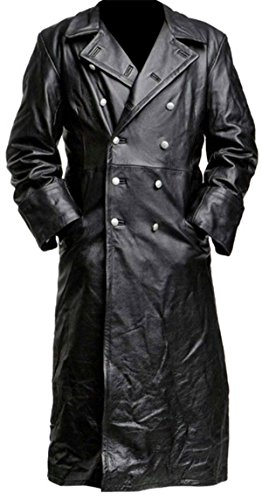 Spazeup German Classic Military Officer Black Leather Trench Coat,3XL
