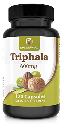 Triphala Capsules Extract Supplement – NOT Tablets or Powder – 600 mg 120 Vegan Caps Per Pot 2 Months' Supply