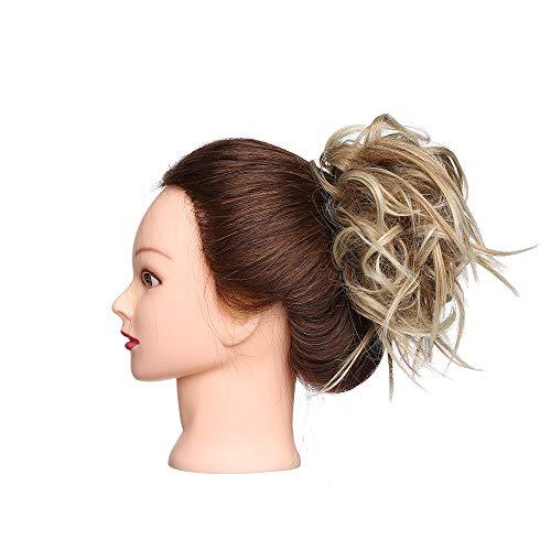 Elailite Chignon Elastico Capelli Extension Finti Posticci Ricci Messy Hair Bun Updo Ponytail Extensions Coda di Cavallo Ciambella 45g, Castano mix Biondo Chiarissimo