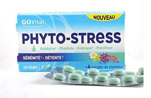 GoVitalPhyto-stress - Pastillas para la ansiedad con 4 extractos de plantas (espino, rhodiola, valeriana y pasiflora), lote de 2 cajas de 20 comprimidos