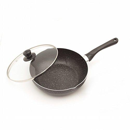 BQC Poêle Antiadhésif Petit Wok Pas de Fumée Cuisinière à Induction Cuisinière à Gaz Pot à Plateau Plat Universel Pot à 24cm,UNE