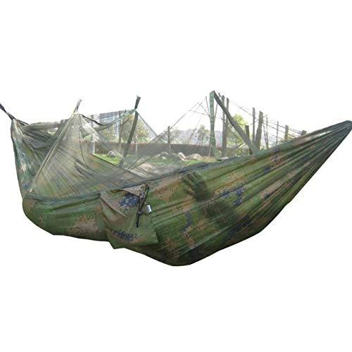 YHWW Hamaca,Mosquitera portátil Hamaca para Acampar Jardín al Aire Libre Viaje Columpio Paracaídas Tela Colgar la Cama Hamaca 260 * 130 cm, Camuflaje, China