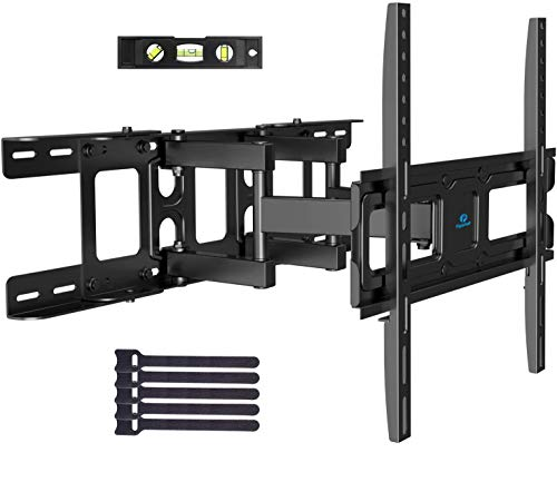 TV Wall Mount Bracket Full Motion Swivel Articulating Arms Tilt Rotation, Fit Most 26-55 Inch LED, LCD, OLED Flat Curved TVs, Extension to 24 inch Wood Stud Max VESA 400x400mm up to 99lbs by Pipishell