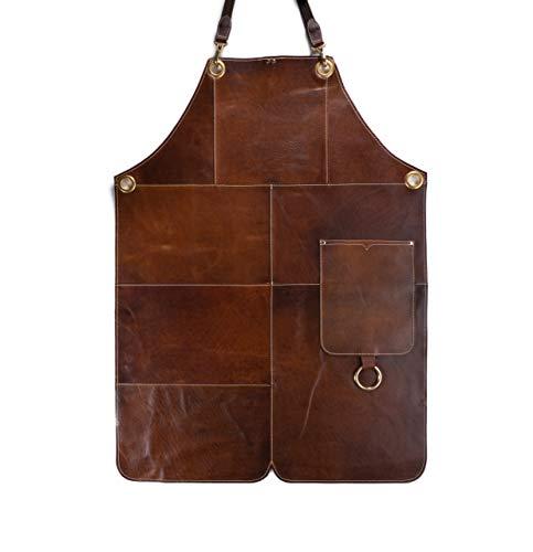 Premium Lederen Schort - Full Leather Grill Apron - Patches Vintage Lederen Schort - BBQ & Keuken - Barney (S-M)