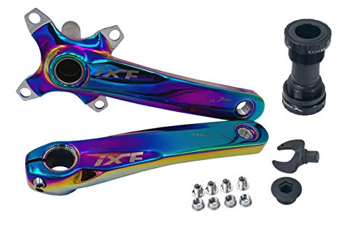 DECKAS Bike Crank Arm Set 170mm 104 BCD with Bottom Bracket Kit and Chainring Bolts for MTB BMX Road Bicycle (Colorful)