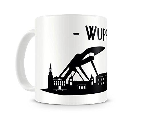 Skyline4u Tasse mit Wuppertal Skyline für Kaffee oder Tee H:95mm/D:82mm weiß/schwarz