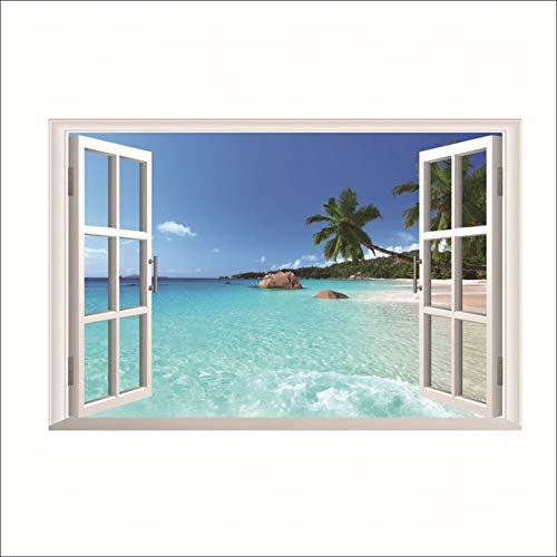 Landschaft Falsche Windows 3D Wandaufkleber Hawaii Stil Wohnzimmer Abnehmbare Dekoration Diy Pvc Aufkleber Kunst Kinder Geschenk