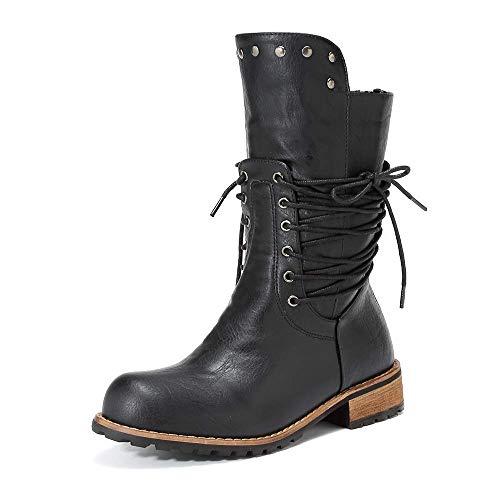 AugSep Mediados de la Pantorrilla Botas de Cuero Grueso de Las Mujeres de la Moda de Encaje bajo el talón hasta el Combate a Caballo Zapatos Botas de Invierno otoño