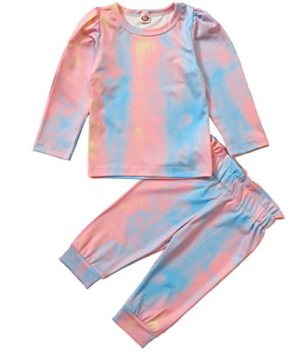 Toddler Baby Girl 2Pcs Tie Dye Outffit Puff Sleeve Top T-Shirt Sweatshirt+Pant Clothes Set (Pink Blue, 18-24 Months)
