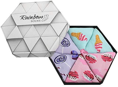 Rainbow Socks - Damen Herren Lustige Süssesten Socken Box - 3 Paar - Eis-Muster Muffins Lutschern - Größen 36-40