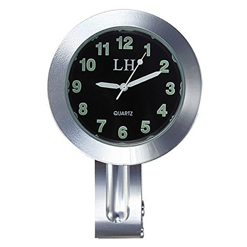 "TOOGOO Reloj negro impermeable de UK de manillar de montaje de motocicleta de 7/8 ""1"" universal"