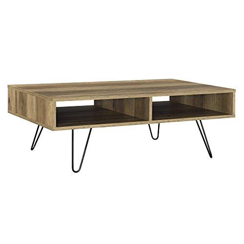 [en.casa] Tavolino da Salotto Design Preston 100 x 60 x 35 cm 2 Mensole MDF Effetto Legno Gambe Hairpin Acciaio