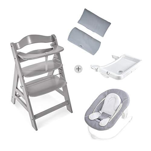 Hauck Newborn Set (4 Teilig): Alpha Hochstuhl, grau + Babywippe (Ohne Motiv) in grau + Essbrett, weiß + Hochstuhlauflage Deluxe, hellgrau