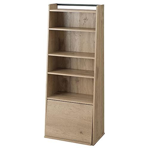 Iris Ohyama, Librería/Estantería/Organizador de 5 niveles con puerta batiente y corredera - Book shelf IWMG-5 - Roble marrón ceniza