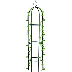 [Ideal Garden Trellis]:Height 6.3 feet(75.6 inches), perfect size to work as plant trellis.The vertical tomato tower obelisk gives flowering vines,vegetables and other planters a sturdy support to climb.Adds dramatic height to your garden with vertic...