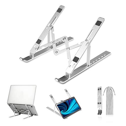 Laptop Stand, Adjustable Portable Laptop Holder, Aluminum Foldable Laptop Riser Computer Stand, Vertical Laptop Stand Compatible with MacBook Air Pro, Dell XPS, HP, Lenovo More 10-15.6' Laptops