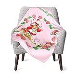 Larduor Strawberry Shortcake & Custard Baby Blankets Lightweight Travel Outdoor Blanket for Kids Boys Girls One Size