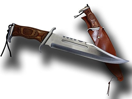 Rogue River Tactical Big Jim Large Bowie Knife with Sheath Best Hunting and Survival Knife