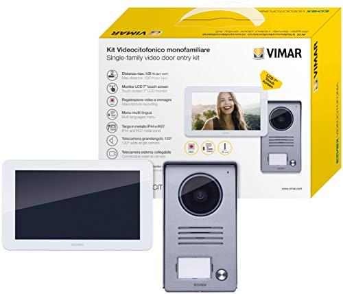 Vimar K40935 Kit videoportero de superficie para 1 familla con: videoportero LCD 7in altavoz con pantalla táctil, placa audio/vídeo de 1 botón, alimentador, con estribos de fijación, Blanco