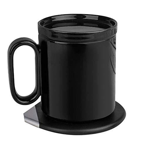 Anam Safdar Butt Taza termostática de Carga inalámbrica Taza de cerámica con calefacción de Modo Dual con Posavasos Impermeable Adecuado para Oficina en casa - Negro