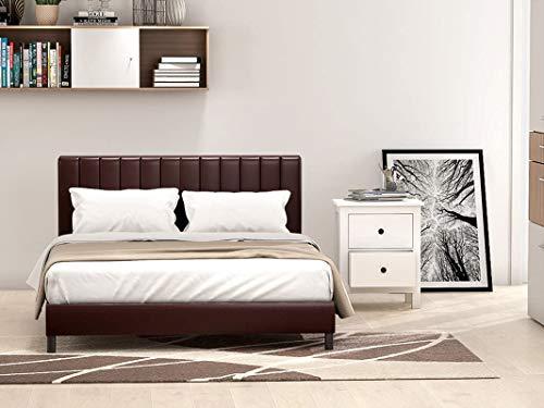 Panana Faux Leather Upholstered Platform Bed Frame/Wood Slat Support Bedstead and Headboard Low Foot End for Bedroom Furniture (Brown, 5FT)