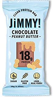 Jimmy! Chocolate Peanut Butter Protein Bars, 18g Protein, Low Sugar, 12 Count