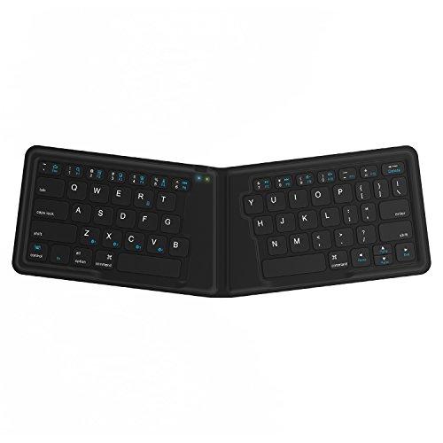Kanex K166-1128 - Teclado Plegable de Viaje para iOS/Android/Windows, Teclado QWERTY inglés, Color Negro