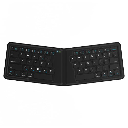Kanex K166-1128 - Teclado Plegable de Viaje para iOS/Android/Windows, Teclado QWERTY inglés, Color Negro
