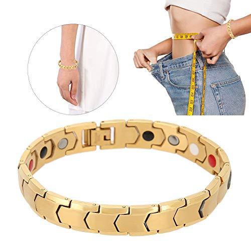 Armband, Abnehmen Armband, Mode Magnetarmband, Gewichtsverlust Armband, Männer Frauen Unisex Schwarz Stein Armband Gesundheitswesen Magnetfeldtherapie Armband, tolles Geschenk (Gold)