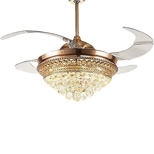 FAGavin Lámpara invisible de techo de 52 pulgadas para ventilador de hogar, moderno, restaurante, dormitorio, sala de estar, con ventilador LED silencioso, 55 cm x 55 cm x 39 cm.