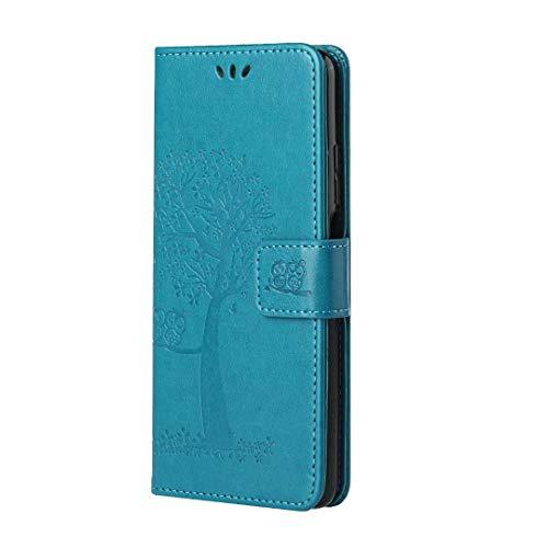 Nadoli Flip Handyhülle für Samsung Galaxy A02S,Schutzhülle Pu Leder Lustig Geprägt Baum Eule Magnetverschluss Wallet Brieftasche Lederhülle Etui