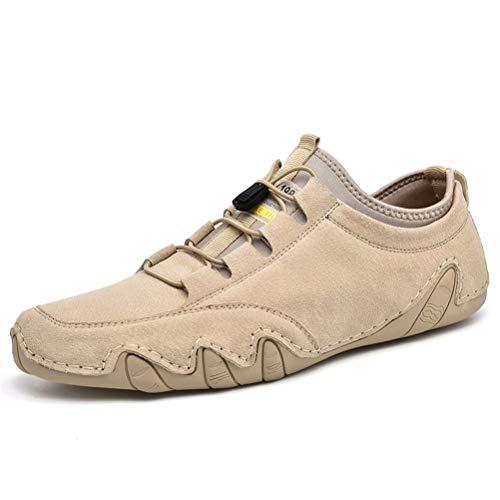 Mokassin Herren Leder Schuhe Schnürsenkel Weiche Bequeme Herbst Vintage Loafer Flat Freizeit rutschfest Outdoor Fahrschuhe Beige 42