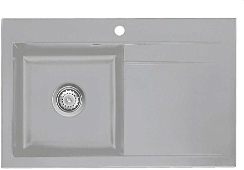 Systemceram Stema 80 Titan Keramik-Spüle Handbettigung Grau matt Spültisch
