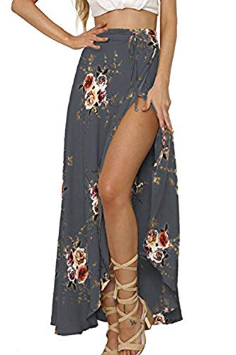 Yonala Womens Boho Floral Tie Up Waist Summer Beach Wrap Cover Up Maxi Skirt (M, Gray)