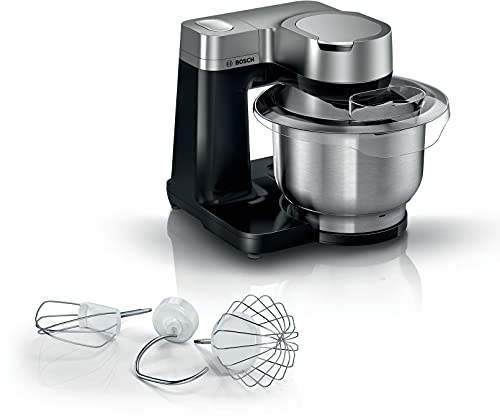 Bosch MUMS2VM00 - Robot de cocina Serie 2 - 900 W, 7 velocidades + turbo, kit de repostería, cuenco de 3,8 l, acero inoxidable, color negro