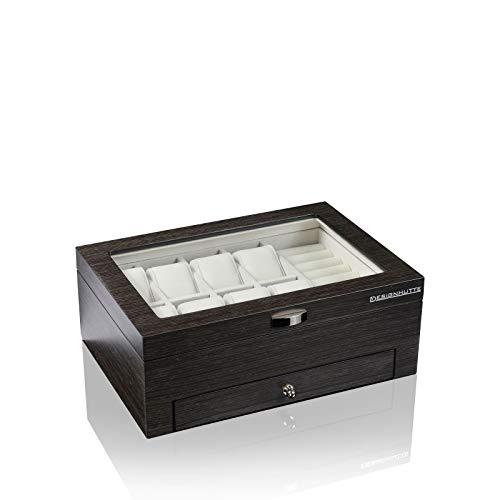 DESIGNHÜTTE® Uhren- & Schmuckbox/Aufbewahrung Princeton Schwarz für 8 Armbanduhren/Ringe/Manschettenknöpfe sowie diversen Schmuck
