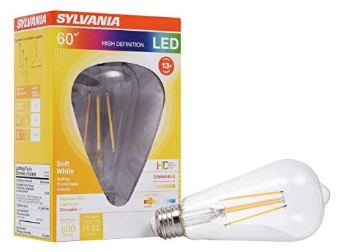 LEDVANCE 40255, Soft White Sylvania LED Filament Light Bulb, ST19 Lamp, Medium Base, Clear Finish, Efficient 8.5W, 2700K, 1 Pack