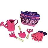 Yililay Juego de Herramientas de jardinería niños con los Guantes Pala Rastrillo de Mano Bolsa de Accesorios niños de jardín al Aire Libre y Juguetes de Aprendizaje Todo en un Kit (Rosa) 1Ponga