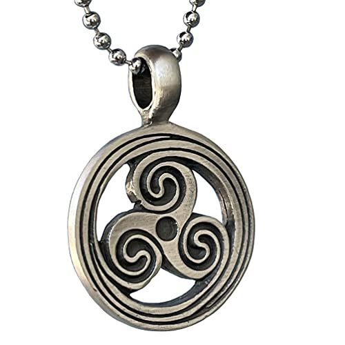 Celtic Jewelry Triskele Trinity Triskelion Triskeles Labyrinth Maze Magic Pagan Pewter Men's Pendant Necklace Protection Amulet Wealth Money Fortune Lucky Charm Safe Travel Talisman Silver Ball Chain
