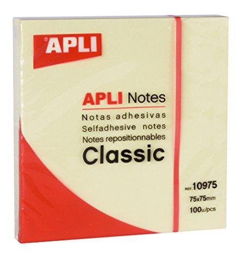 APLI 18145 - Notas adhesivas 75 x 75 color amarillo 12 u.