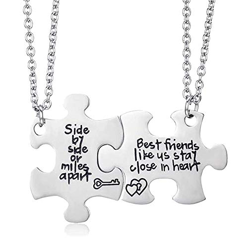 ALoveSoul Best Friend Necklaces - Side by Side Or Miles Apart Best Friends Likes Us Stay Close in Heart, Pizza Necklace 2 BFF Gifts Friendship Necklace